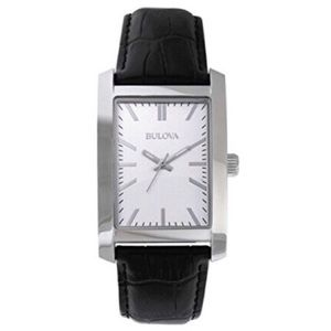 Bulova Watch Silver tone face with Leather Band